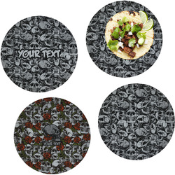 """Skulls Set of 4 Glass Lunch / Dinner Plate 10"""" (Personalized)"""