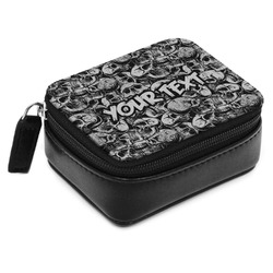 Skulls Small Leatherette Travel Pill Case (Personalized)
