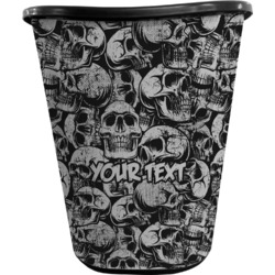Skulls Waste Basket - Double Sided (Black) (Personalized)