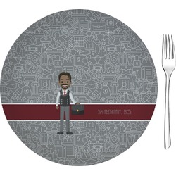 "Lawyer / Attorney Avatar 8"" Glass Appetizer / Dessert Plates - Single or Set (Personalized)"