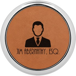 Lawyer / Attorney Avatar Leatherette Round Coaster w/ Silver Edge - Single or Set (Personalized)