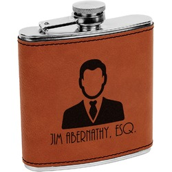 Lawyer / Attorney Avatar Leatherette Wrapped Stainless Steel Flask (Personalized)