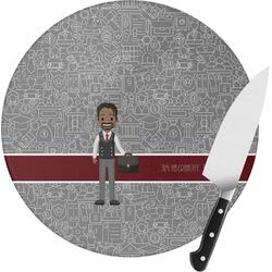 Lawyer / Attorney Avatar Round Glass Cutting Board (Personalized)