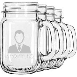 Lawyer / Attorney Avatar Mason Jar Mugs (Set of 4) (Personalized)