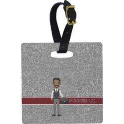 Lawyer / Attorney Avatar Plastic Luggage Tag - Square w/ Name or Text