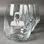 Lawyer / Attorney Avatar Stemless Wine Glasses (Set of 4) (Personalized)