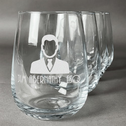 Lawyer / Attorney Avatar Wine Glasses (Stemless Set of 4) (Personalized)