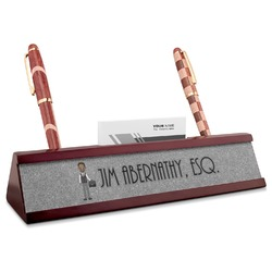 Lawyer / Attorney Avatar Red Mahogany Nameplate with Business Card Holder (Personalized)