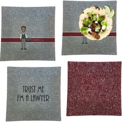 """Lawyer / Attorney Avatar Set of 4 Glass Square Lunch / Dinner Plate 9.5"""" (Personalized)"""
