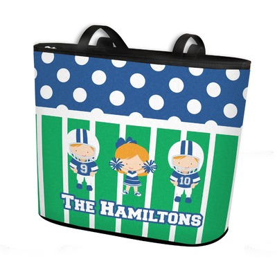Football Bucket Tote w/ Genuine Leather Trim (Personalized)
