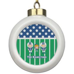 Football Ceramic Ball Ornament (Personalized)