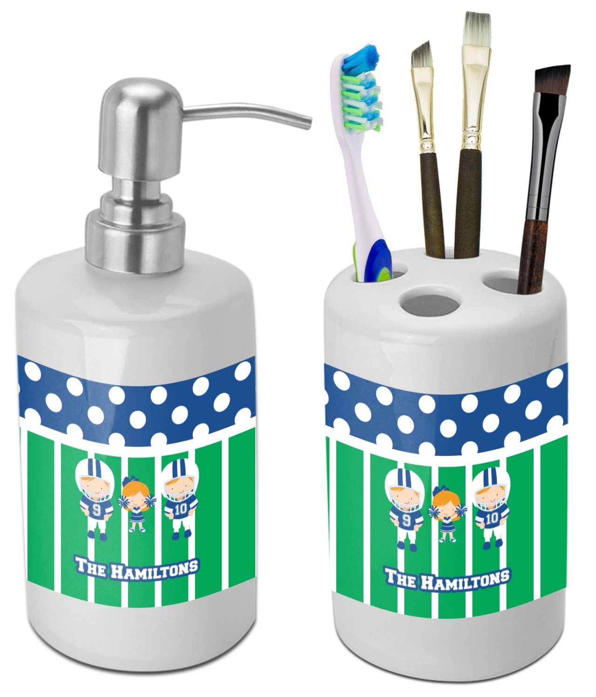 Football Bathroom Accessories Set Ceramic Personalized