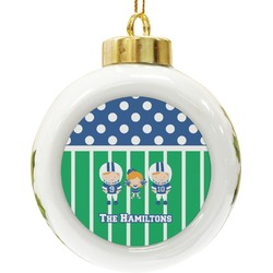 Football Ceramic Ball Ornament (Personalized)