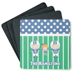 Football 4 Square Coasters - Rubber Backed (Personalized)