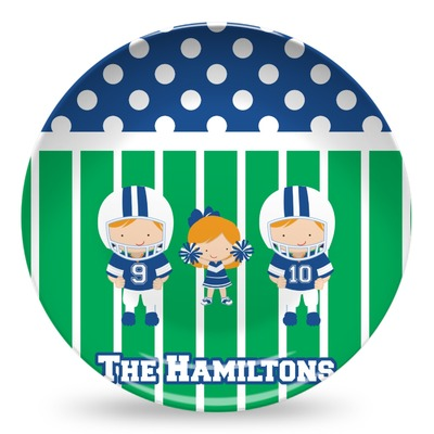 Football Microwave Safe Plastic Plate - Composite Polymer (Personalized)