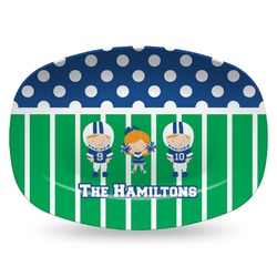 Football Plastic Platter - Microwave & Oven Safe Composite Polymer (Personalized)