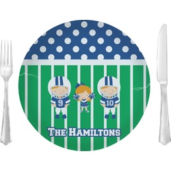 "Football Glass Lunch / Dinner Plates 10"" - Single or Set (Personalized)"