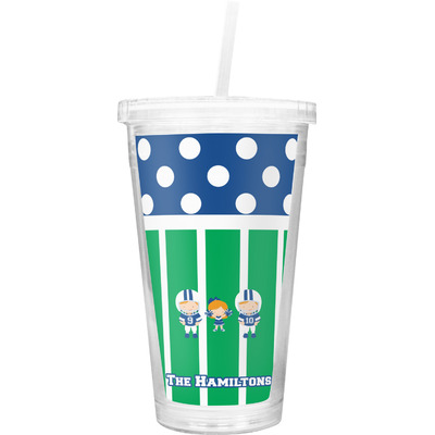 Football Double Wall Tumbler with Straw (Personalized)