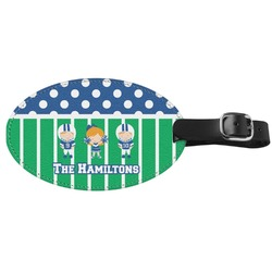 Football Genuine Leather Oval Luggage Tag (Personalized)