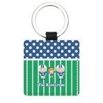Football Genuine Leather Rectangular Keychain (Personalized)