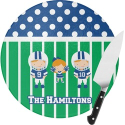 Football Round Glass Cutting Board (Personalized)