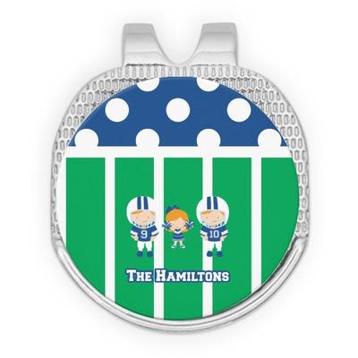Football Golf Ball Marker - Hat Clip - Silver