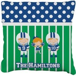 Football Faux-Linen Throw Pillow (Personalized)