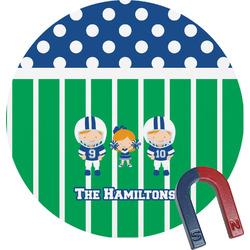 Football Round Fridge Magnet (Personalized)