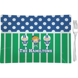 Football Rectangular Glass Appetizer / Dessert Plate - Single or Set (Personalized)