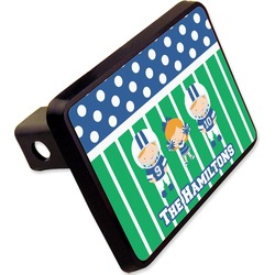 "Football Rectangular Trailer Hitch Cover - 2"" (Personalized)"