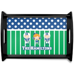 Football Black Wooden Tray - Small (Personalized)