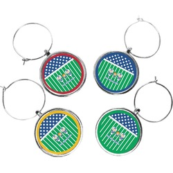 Football Wine Charms (Set of 4) (Personalized)