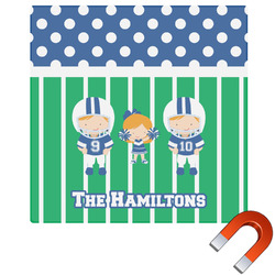"Football Square Car Magnet - 6"" (Personalized)"