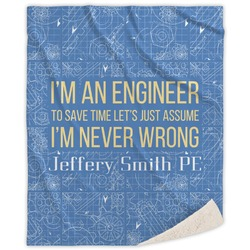 Engineer Quotes Sherpa Throw Blanket (Personalized)