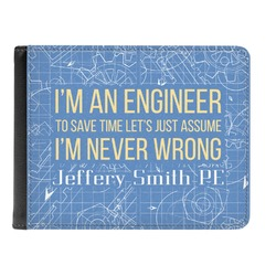 Engineer Quotes Genuine Leather Men's Bi-fold Wallet (Personalized)