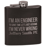 Engineer Quotes Black Flask (Personalized)