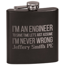 Engineer Quotes Black Flask Set (Personalized)