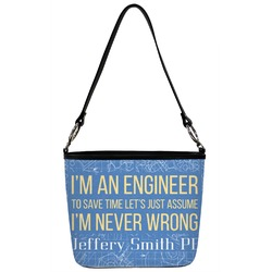 Engineer Quotes Bucket Bag w/ Genuine Leather Trim (Personalized)