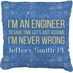 Engineer Quotes Faux-Linen Throw Pillow (Personalized)