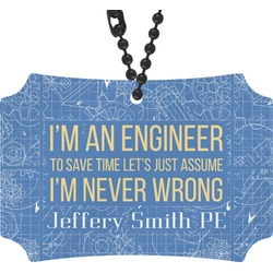 Engineer Quotes Rear View Mirror Ornament (Personalized)