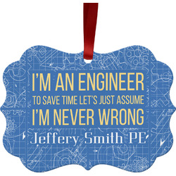 Engineer Quotes Metal Frame Ornament - Double Sided w/ Name or Text