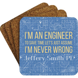 Engineer Quotes Coaster Set w/ Stand (Personalized)