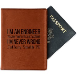 Engineer Quotes Leatherette Passport Holder (Personalized)