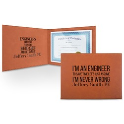 Engineer Quotes Leatherette Certificate Holder (Personalized)