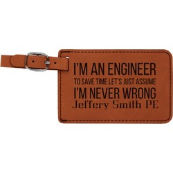 Engineer Quotes Leatherette Luggage Tag (Personalized)