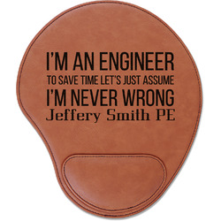 Engineer Quotes Leatherette Mouse Pad with Wrist Support (Personalized)