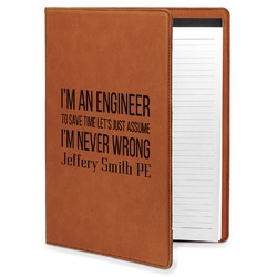 Engineer Quotes Leatherette Portfolio with Notepad (Personalized)