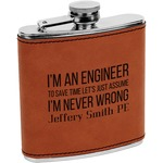 Engineer Quotes Leatherette Wrapped Stainless Steel Flask (Personalized)