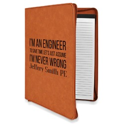 Engineer Quotes Leatherette Zipper Portfolio with Notepad (Personalized)