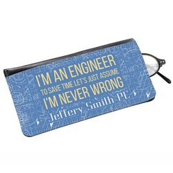 Engineer Quotes Genuine Leather Eyeglass Case (Personalized)